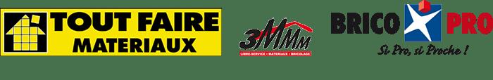 Logos Tout Faire Matériaux, 3MMM et Brico Pro